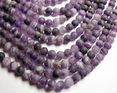 Amethyst Matte - 8 mm round - 1 full strand - 48 beads - RFG1075