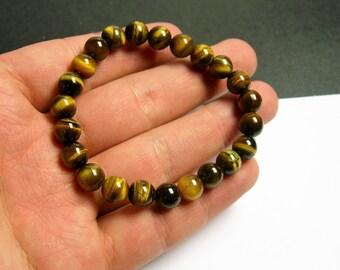 Tiger eyes - 8mm round beads - 23 beads - 1 set  - HSG10