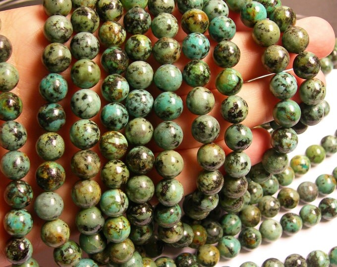 Turquoise - African - 10 mm round - 1 full strand - 39 beads - african turquoise - RFG462