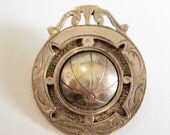 Antique Sterling Football Brooch... British Hallmark 1927... Sweetheart Pin?