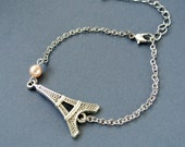 Paris Eiffel Tower Bracelet , Eiffel Tower Pendant Bracelet, Eiffel Tower Jewelry