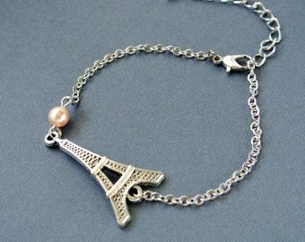 Paris Eiffel Tower Bracelet , Eiffel Tower Pendant Bracelet, Eiffel Tower Jewelry
