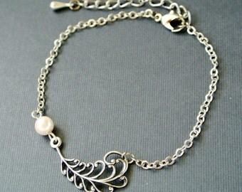 Feather Bracelet , Silver Feather Bracelet, Silver Bracelet, Bridesmaid Jewelry