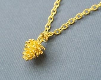 Pinecorn Necklace, Tiny Pinecorn Jewelry, Gold Pine Cone Necklace,Holiday Necklace, Everyday Necklace, Autumn Necklace