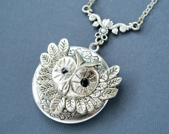 Owl Locket, Owl Locket Necklace, Owl Photo Locket Jewelry, Owl Jewelry Necklace, Owl Pendant Necklace
