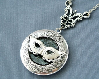 Mask Locket Necklace, Mask Locket, Mask Jewelry, Photo Locket, Image Locket