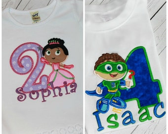 Boys or Girls Birthday Shirt Super Why Whyatt or Princess Pea Inspired Top Applique Bodysuit with Free NAME