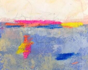 Colorful small mixed media painting - Bright Horizon 2 6 x 6