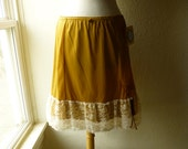 Ruffle Slip Skirt M/L Stay Gold Yellow Glam Garb Handmade USA Romantic Victorian Steampunk Vintage Hand Dyed OOAK Retro Rockabilly Burlesque