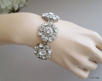Bridal Rhinestone Bracelet  swarovski crystal Bridal Bracelet Statement Bridal BraceletWedding Rhinestone Bracelet wedding Bracelet COLLEEN