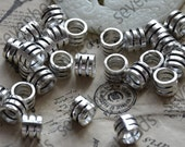 24 pcs of Antique silver Hole Barrel Bead distance piece ,metal beads spacers ,spacers finding beads charm,necklace finding