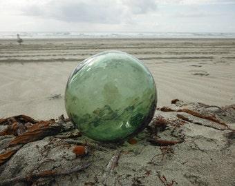 "Japanese Glass Fishing Float - 5"" diameter, Light Green, Bubbles, Sasa Mark"