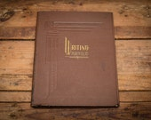 Vintage Writing Portfolio Folder Book, Brown Cover with Gold Lettering