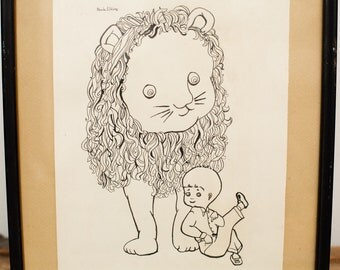 Kitsch Nursery Art, Original Lion & Boy Ink Drawing, Signed Paula Elkins, Framed, Vintage 60s