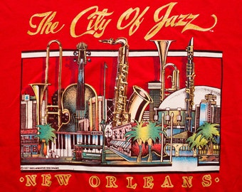New Orleans The City of Jazz T-Shirt, Music Instrument City, Vintage 80s