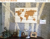 World Map - Wood Map - Wooden Map - Gold World Map - Wooden World Map - Map Wall Hanging - Map Of The World - Rustic Home Decor - Plank Woo