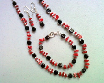 Red, Black and Silver Necklace, Bracelet and Earrings (0155)