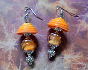Tangerine Orange Lampwork Earrings (2546)
