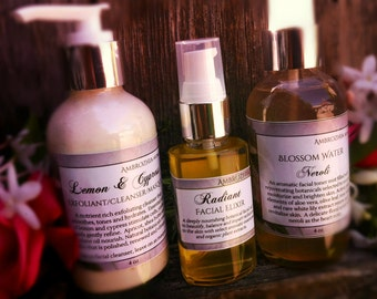 Organic Skin Care REJUVENATING COLLECTION ~ Lemon Cypress Cleanser, Facial Serum, Blossom Water Toner, 20% off package, limited time offer