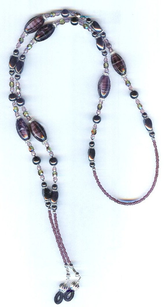 Beautiful Fluted Czech Glass and Magnetic Hematite Beaded Eyeglass Chain or ID Badge Lanyard