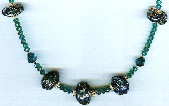 Celine Dark Aqua Sea Opal Metallic Borosilicate Signature Design Whirlwind Lampwork One of a Kind Necklace!