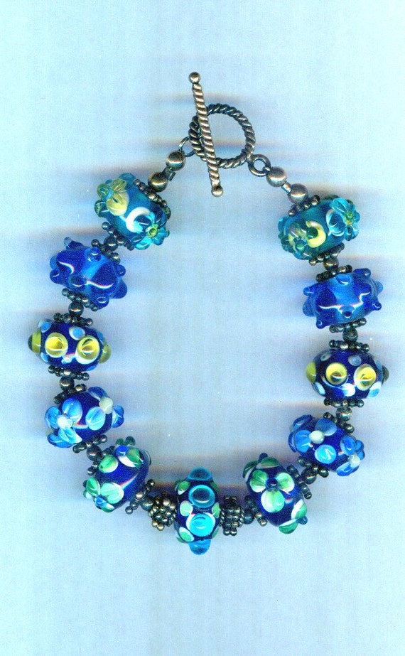 Beautiful Floral Blue Handmade Lampwork One of a Kind Bracelet!
