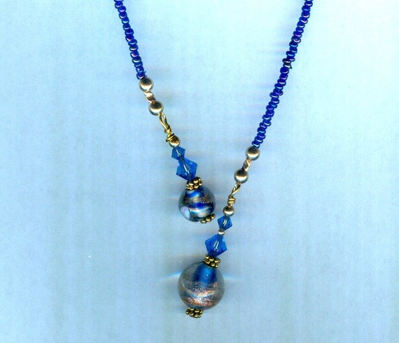 Vintage Sapphire Blue Bead & Swarovski  Faceted Crystal Bead Bookmark GREAT gift!