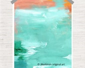 Abstract Fine Art Giclee Print from original Acrylic painting   Orange Coral Mint Aqua Turquoise Green White 