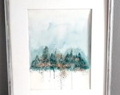 Original Watercolor painting 11x14   Landscape abstract watercolor painting   Fine Art Green, blue, gold, soft muted colors