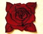 Cowhide Leather Engraved Rose Iron on Patch-NEW COLORS