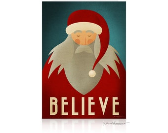 Greeting Card • Santa Believe • Minimalist Christmas Card • 5x7 Blank • Santa Claus