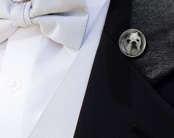 Lapel Pin with Your Photo - Custom Personalized Silver or Gold Plated Groom Tie Tack - Groom Groomsman's Gift Keepsake Captured in Glass
