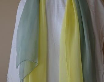Set of 2 scarves yellow and blue green 100% silk chiffon scarf no fringe plain work office bulk