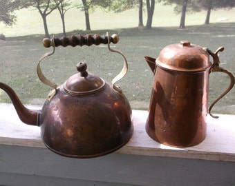 Vintage Teapot and Tea Kettle Copper with Wooden Handle Metal Tea or Coffee Pot
