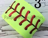 "3yd 3"" Printed Foil Ribbon- Sports Ribbon, Printed Ribbon, Softball Ribbon, Softball Stitching, Holographic Foil Softball"