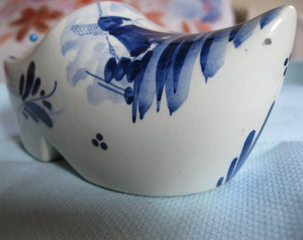 Upcycled Delft China Clog Ashtray. Needle felted Wool Pincushion. Sewing accessory, Pins n Needles, Needle holder