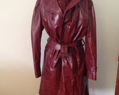 70s Women's Leather Trench Coat in Cranberry by Reed Sportwear