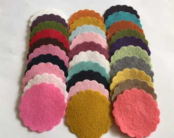Wool Felt Scallops 30 1 3/4inch in Random Colored. 3166