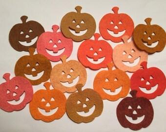 Wool Felt Halloween Pumpkins 15 Count - Fall Colors 3022