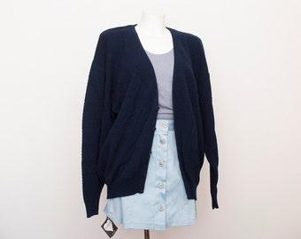 oversized cardigan sweater 80s NOS vintage navy blue oversized sweater