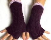 Hand Knitted Fingerless Gloves Cabled Warm Wrist Warmers Maroon Purple Lilac Light Violet Fingerless Arm Warmers