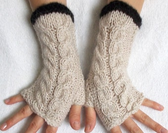 Beige Fingerless Gloves Cabled Wrist Warmers Women Winter Accessory