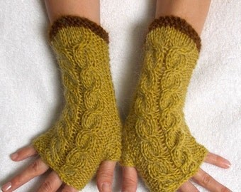 Fingerless Gloves Cabled Warm Wrist Warmers Chartreuse Amber Brown Fingerless Wrist Warmers