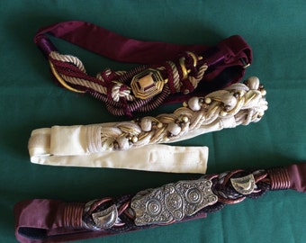 Vintage Ladies Braided Belts Beads Dynasty Era 2 Carolyn Tanner Designs & 1 Ione Lot of 3 Belts 1970s 1980s Retro Boho Kitsch Hipster