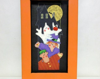 Trick or Treat Ghost, Witch, and Frankenstein with Haunted House, Halloween Sign, Tole Painted, Framed in Reclaimed Wood Frame, Hanging Art