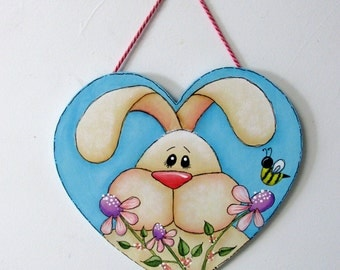 Folk Art Tan Bunny, Flowers, Yellow Bumble Bee, Pink and Purple Flowers, Tole or Hand Painted on Heart Shaped Wood Cut Out,Spring Time Bunny