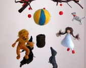 Needle felted mobile Wizard of oz Waldorf inspired Nursery Crib decoration