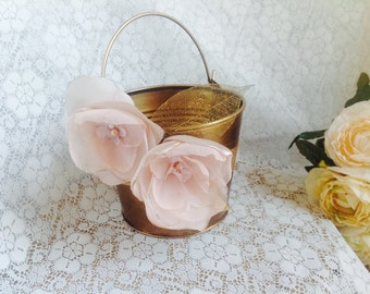 Glamour Couture Flower Girl Pail Basket. Antique Gold finish and Blush color flowers