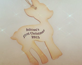 Deer Personalized Wood Ornament - Baby's first Christmas Ornament