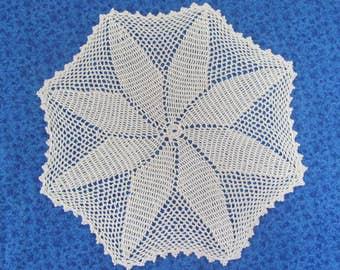 Vintage 14.5 Inch Hand Crochet Ecru Cotton Hand Crafted Doily